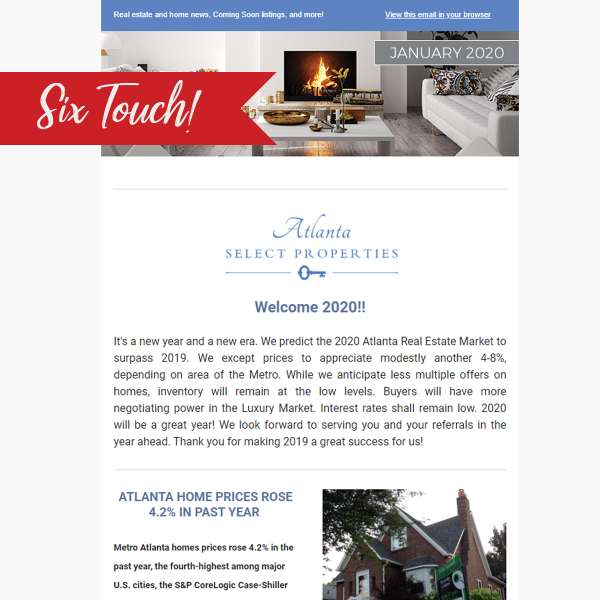 6 touch email newsletter subscription